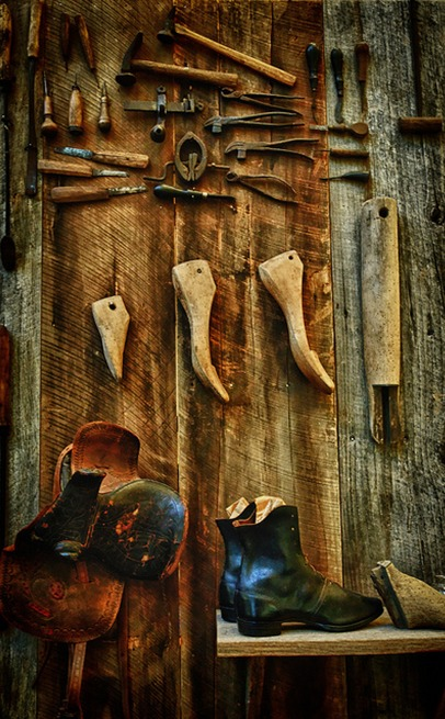 cobbler tools hanging on wall